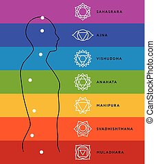 Chakra system of human body. Energy centers