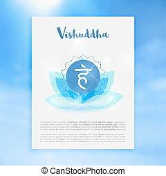 Chakra Vishuddha icon, ayurvedic symbol, concept of Hinduism