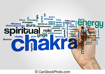 Chakra word cloud concept on grey background