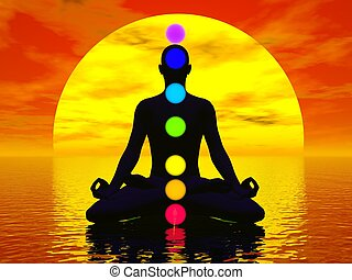 Chakras at sunset - 3D render - Silhouette of a man...