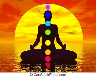 Chakras at sunset - 3D render - Silhouette of a woman ...