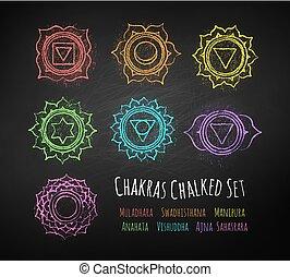 Chakras chalk drawn vector set