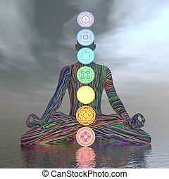 Chakras cloudy meditation - 3D render - Man meditating with ...