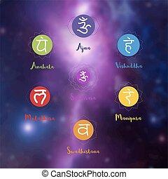 Chakras icons. Concept of chakras used in Hinduism, Buddhism and Ayurveda. For design, associated with yoga and India. Vector Sahasrara, Ajna, Vissudha, Anahata, Manipura, Svadhisthana, Muladhara
