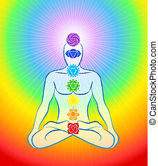 Meditating man in yoga position with the seven main chakras - Rainbow gradient background.