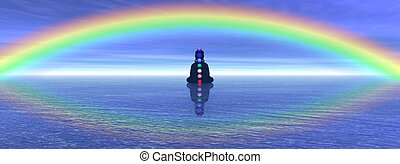 Chakras in meditation - Shadow in meditation with chakras on...