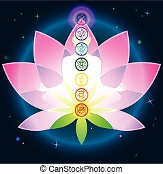 Chakras Lotus - The character set of the chakras and the...