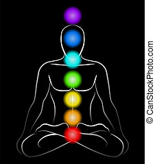 Illustration of a meditating man in yoga position with the seven main chakras. Black background.