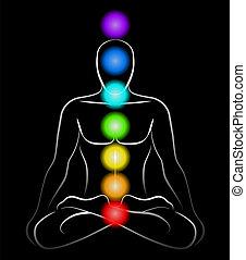 Chakras Man Black - Illustration of a meditating man in yoga...