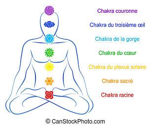 chakras, mann, beschreibung, franzoesisch