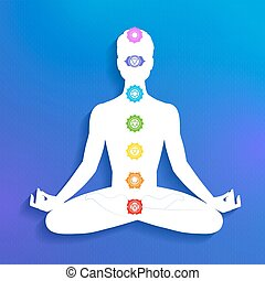 Chakras. Meditation. - Vector illustration of male...