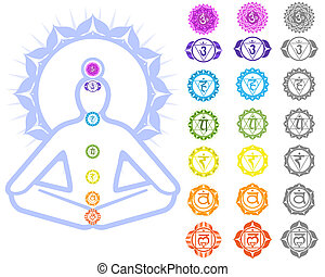 Chakras symbols - Seven Chakras  and spirituality symbols