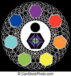 Chakras symbols isolated on white background