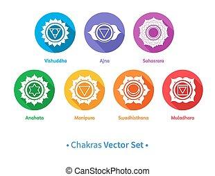 Chakras.  -  Vector set of chakra symbols.