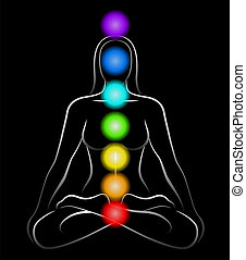 Illustration of a meditating woman in yoga position with the seven main chakras. Black background.