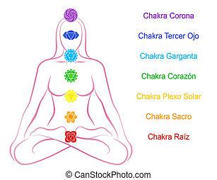 Chakras Woman Description Spanish - Seven main chakras...