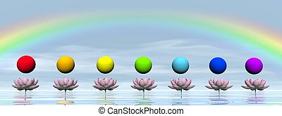chakras, y, arco irirs, -, 3d, render