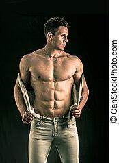 chaleco, abierto, joven, confiado, muscular, hombre, torso, ...