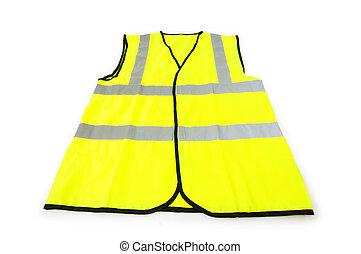 chaleco, fondo blanco, aislado, amarillo