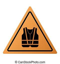 chaleco, icono, seguridad, señal
