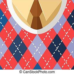 chaleco, macho, camisa, corbata, pecho