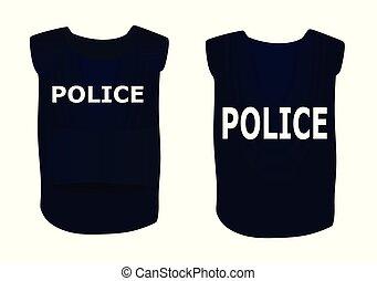 chaleco, policía, azul