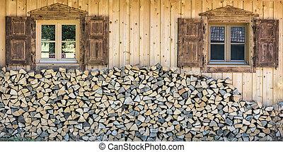 chalet, casa de madera, obturador, ventana, madera, frente, pila, vista