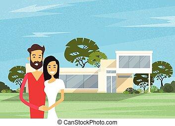 chalet, casa, pareja, moderno, se abrazar, frente, nuevo