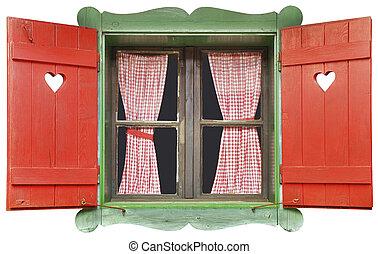 chalet, fenêtre, coupure