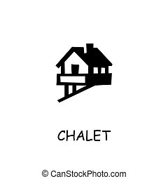 Chalet flat vector icon. Hand drawn style design illustrations.