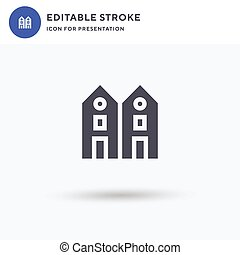 Chalet icon vector, filled flat sign, solid pictogram isolated on white, logo illustration. Chalet icon for presentation.