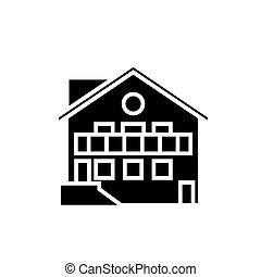 chalet icon, vector illustration, black sign on isolated background