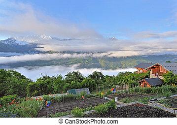 chalet in alpine village with garden in cloudy mountain