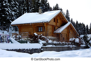 Chalet in Jura mountain by winter - Brown chalet in Jura...