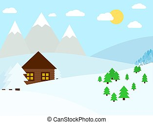 Chalet in mountains. Winter landscape. Vector illustration. Snowy mountains and trees.