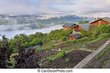 chalet in rural alpine village