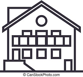 chalet vector line icon, sign, illustration on background, editable strokes