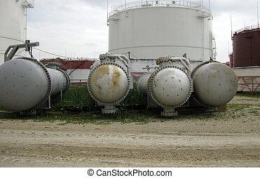 chaleur, exchangers, à, huile, refinery.