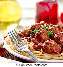chaleureux, spaghetti, dîner