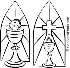 chalice and stained glass - first holy communion, vector ...
