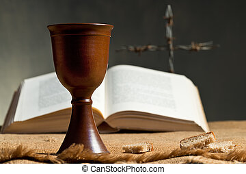 Chalice Of Wine With Bread And Bible