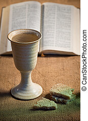 Chalice Of Wine With Bread And Holy Bible