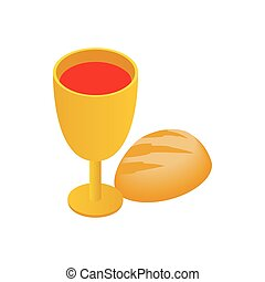 Chalice with wine, piece of bread isometric icon - Chalice...