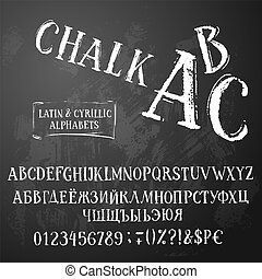 Chalk abc latin and cyrillic ir retro style