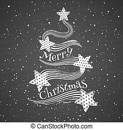 Chalk abstract Christmas tree on blackboard background