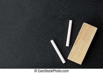chalk and eraser on chalkboard