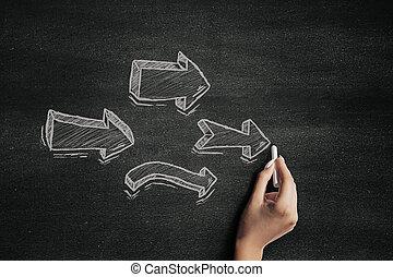 Chalk arrows on a blackboard