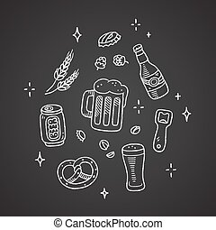 Chalk beer doodles - Set of hand drawn beer doodles. Chalk ...