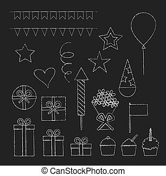 Chalk birthday party icons set