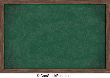 Chalk Board - A blank green chalkboard with a wooden frame,...